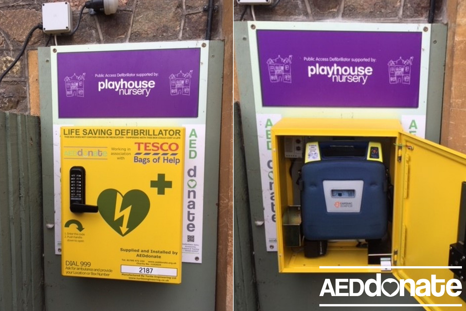 AED cabinet upgrade for Playhouse Nursery