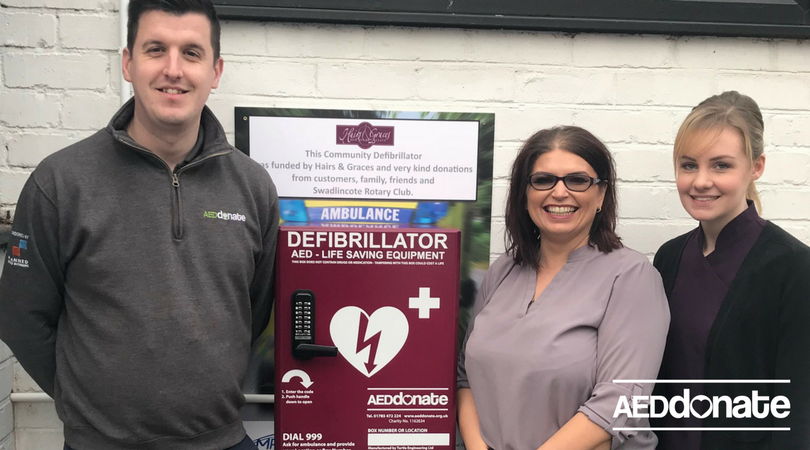 Defibrillator Installed at Hair Salon in Swadlincote