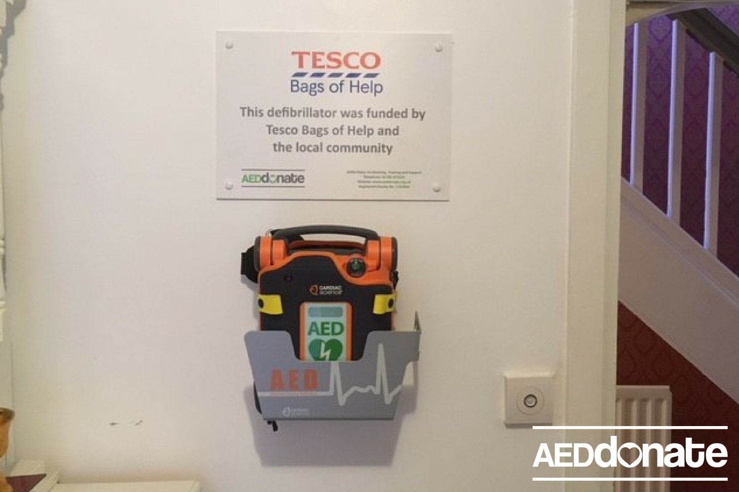 Defibrillator installed at Wat Mahathat Temple, Kings Bromley