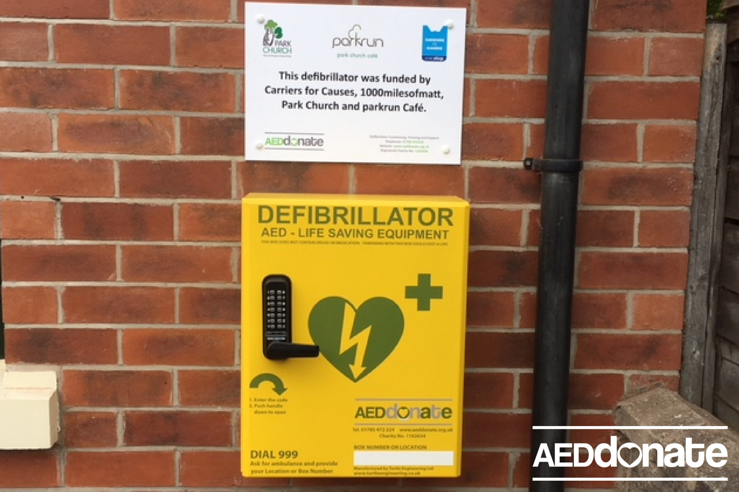 Matts 1000 Miles installs an AED at Park Church, Hanley