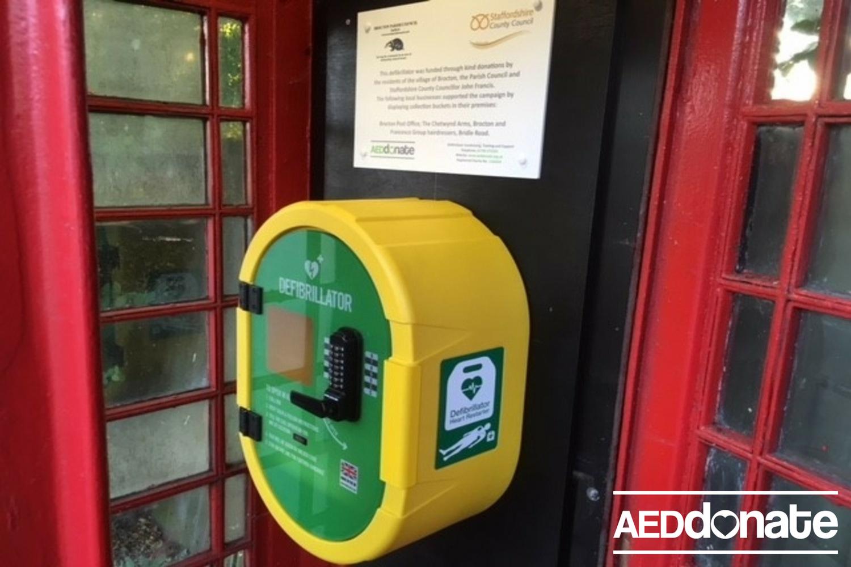 Defibrillator installed in Brocton, Stafford