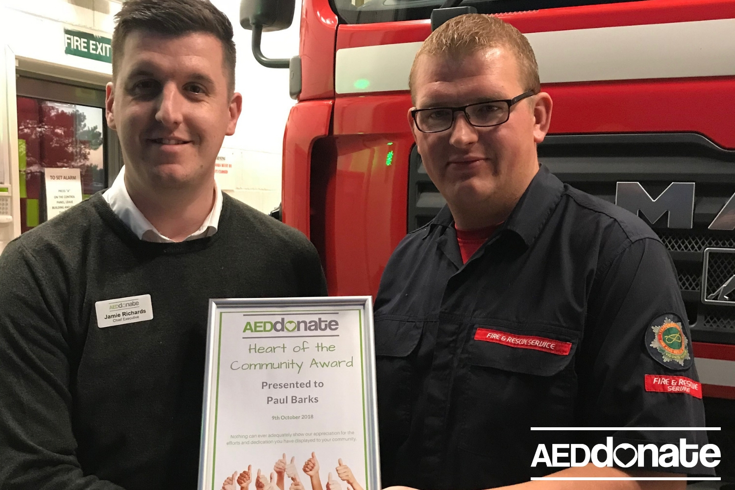 Lifesaver Paul Barks receives AEDdonate Certificate of Special Recognition