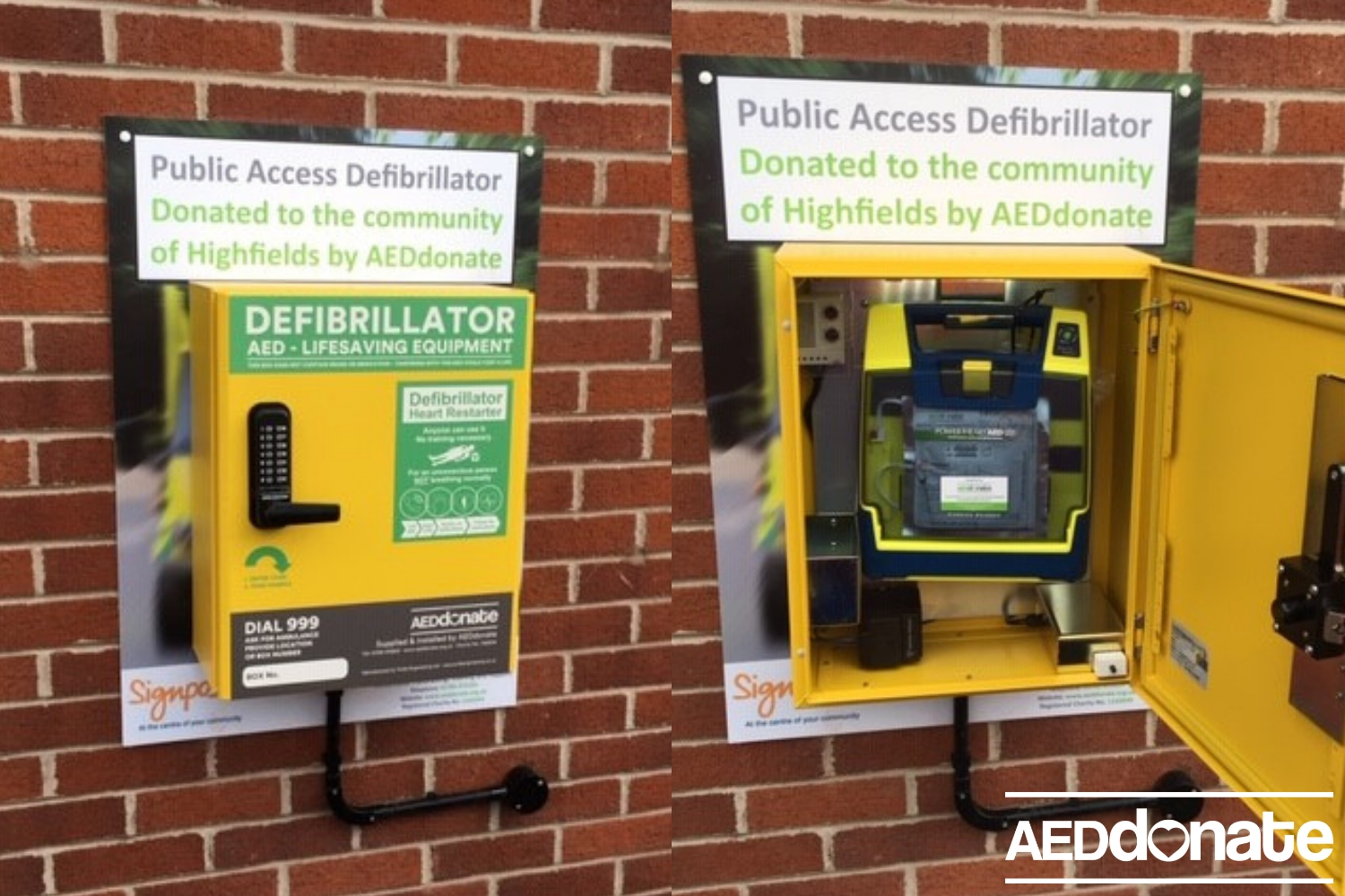 Defibrillator installed at The Signpost Centre