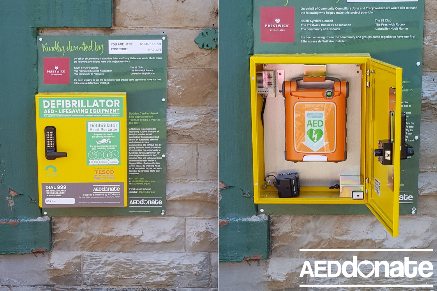 Defibrillator available 24/7 in Prestwick