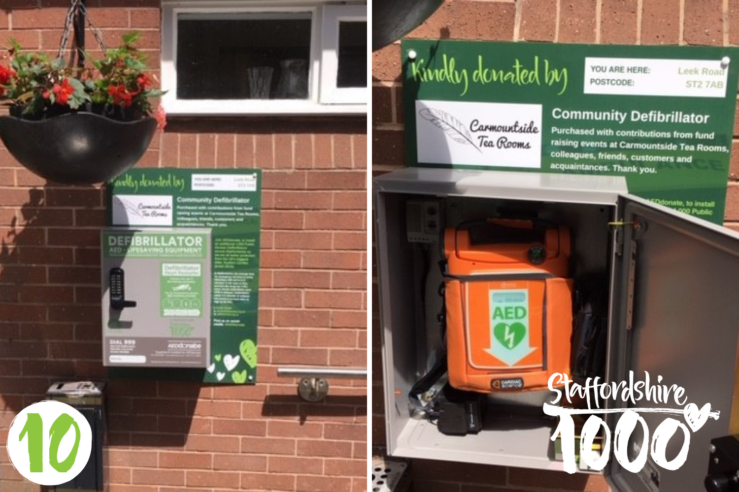 Carmountside Tea Rooms install Defibrillator