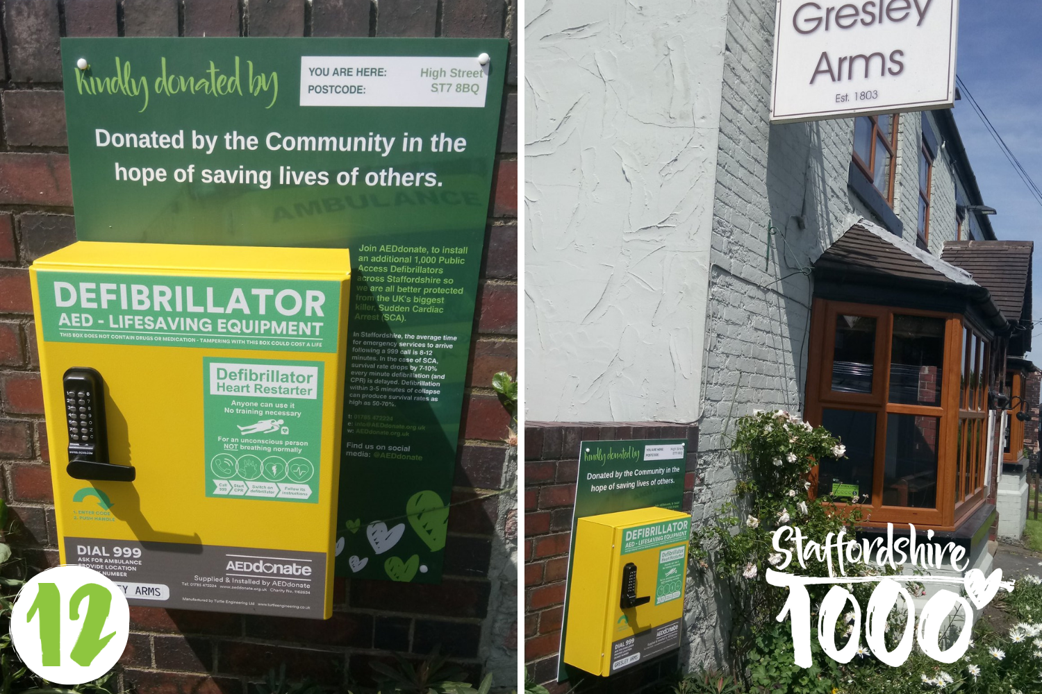 Defibrillator installed at The Gresley Arms