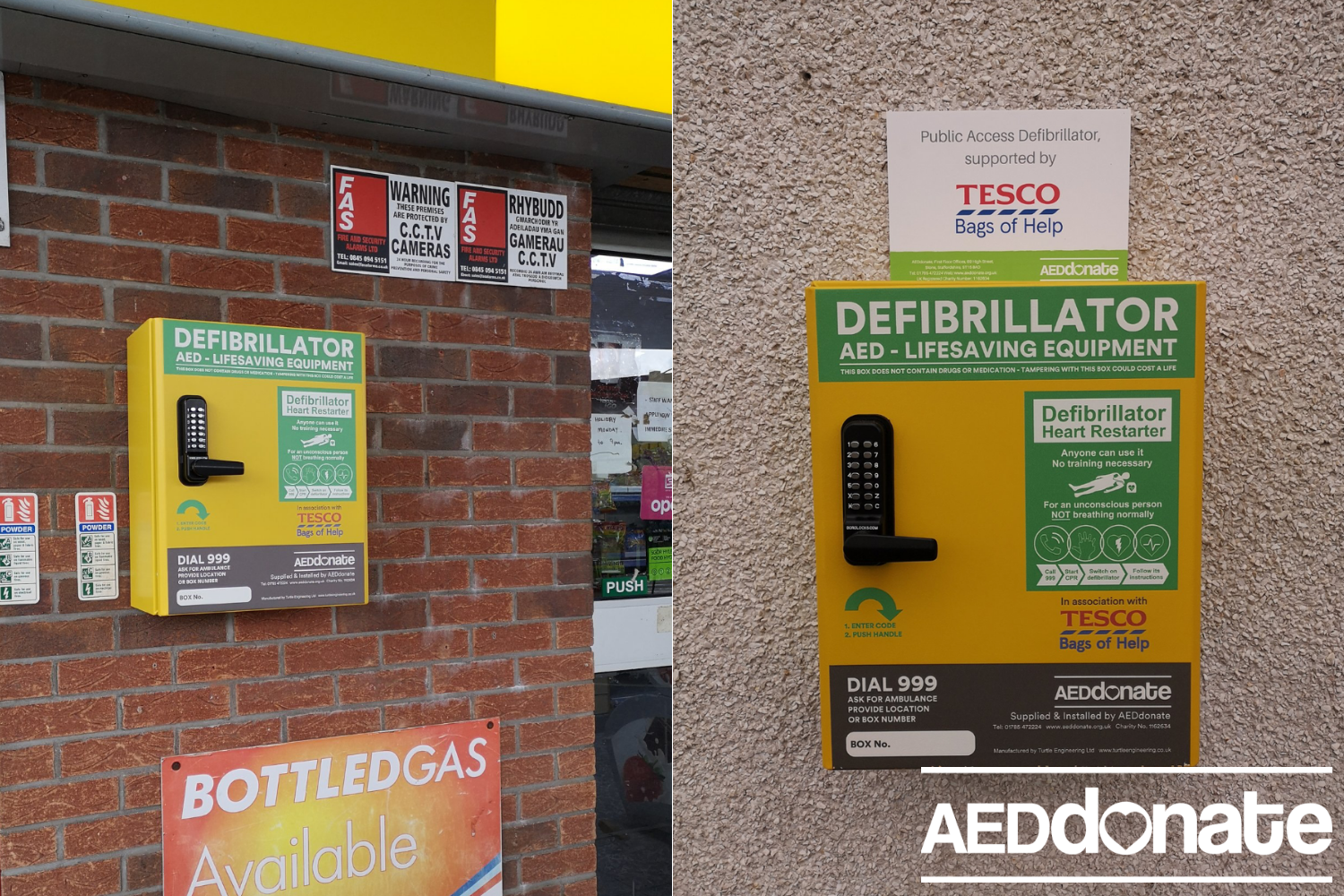 Defibrillators for two service stations