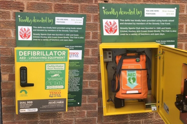 A defibrillator for Streetly Sports Club