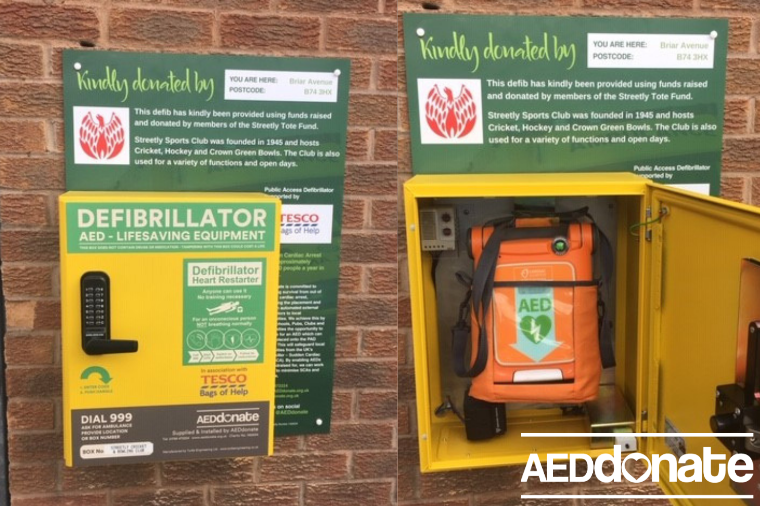 A defibrillator for Streetly Sports Club