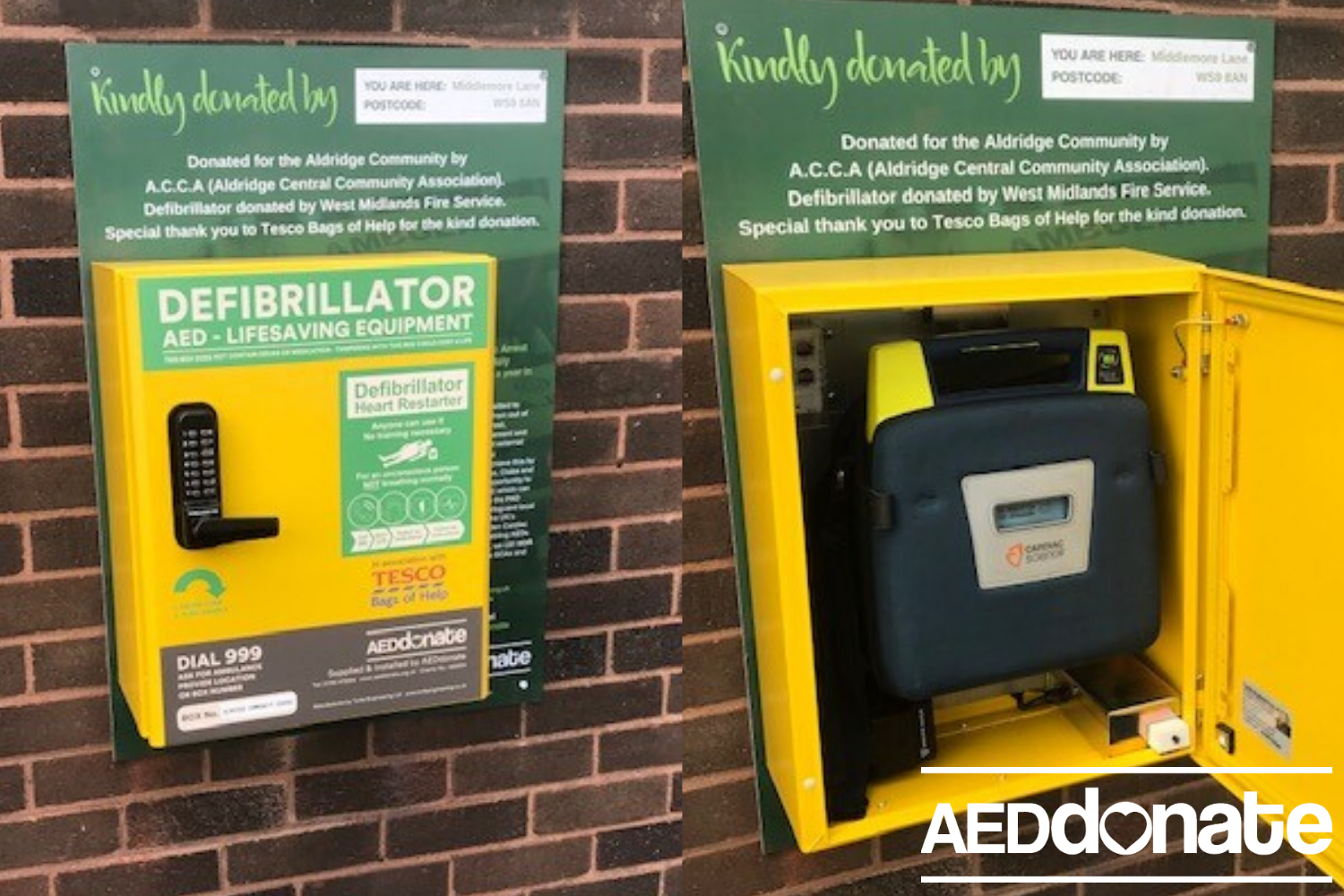 Defibrillator for Aldridge Community Centre