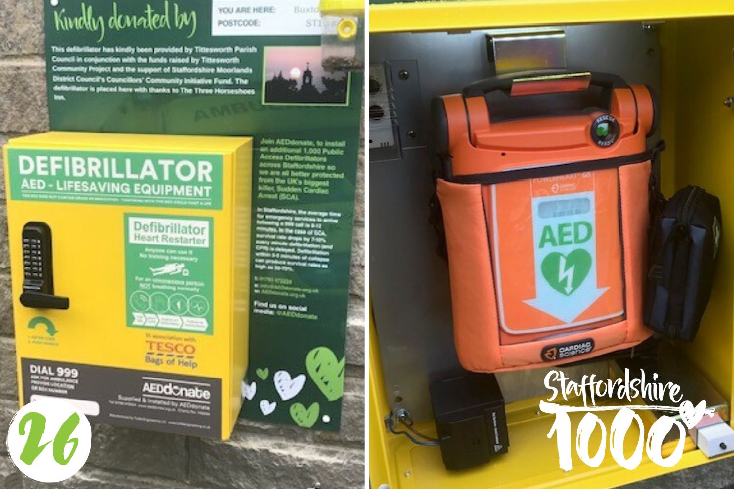 Defibrillator installed at The Three Horseshoes, Leek
