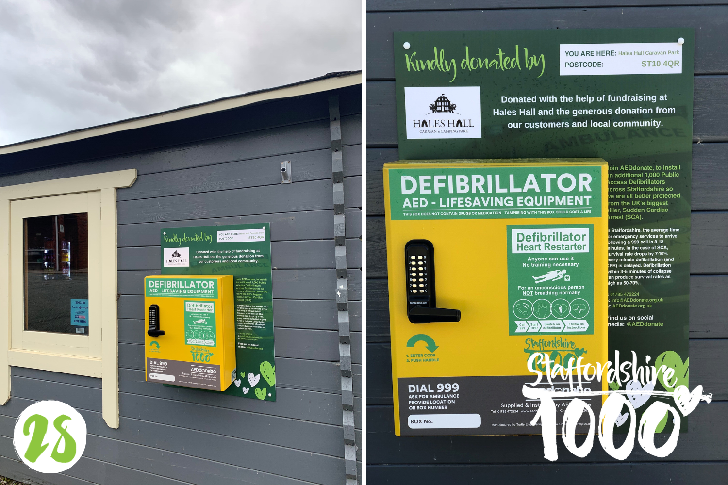Defibrillator for Hales Hall Caravan and Camping Park