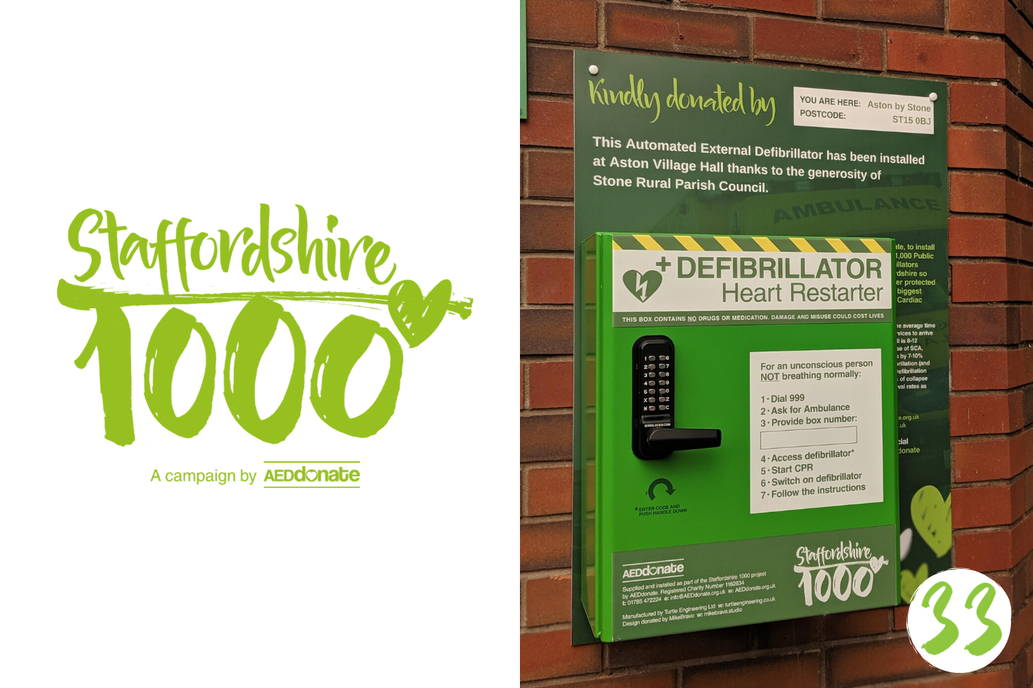 Defibrillator installed at Aston Village Hall