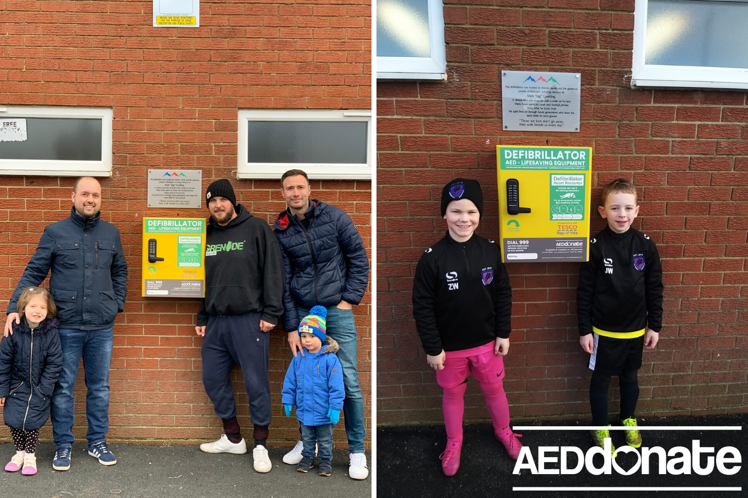 New defibrillator cabinet for football club due to vandalism