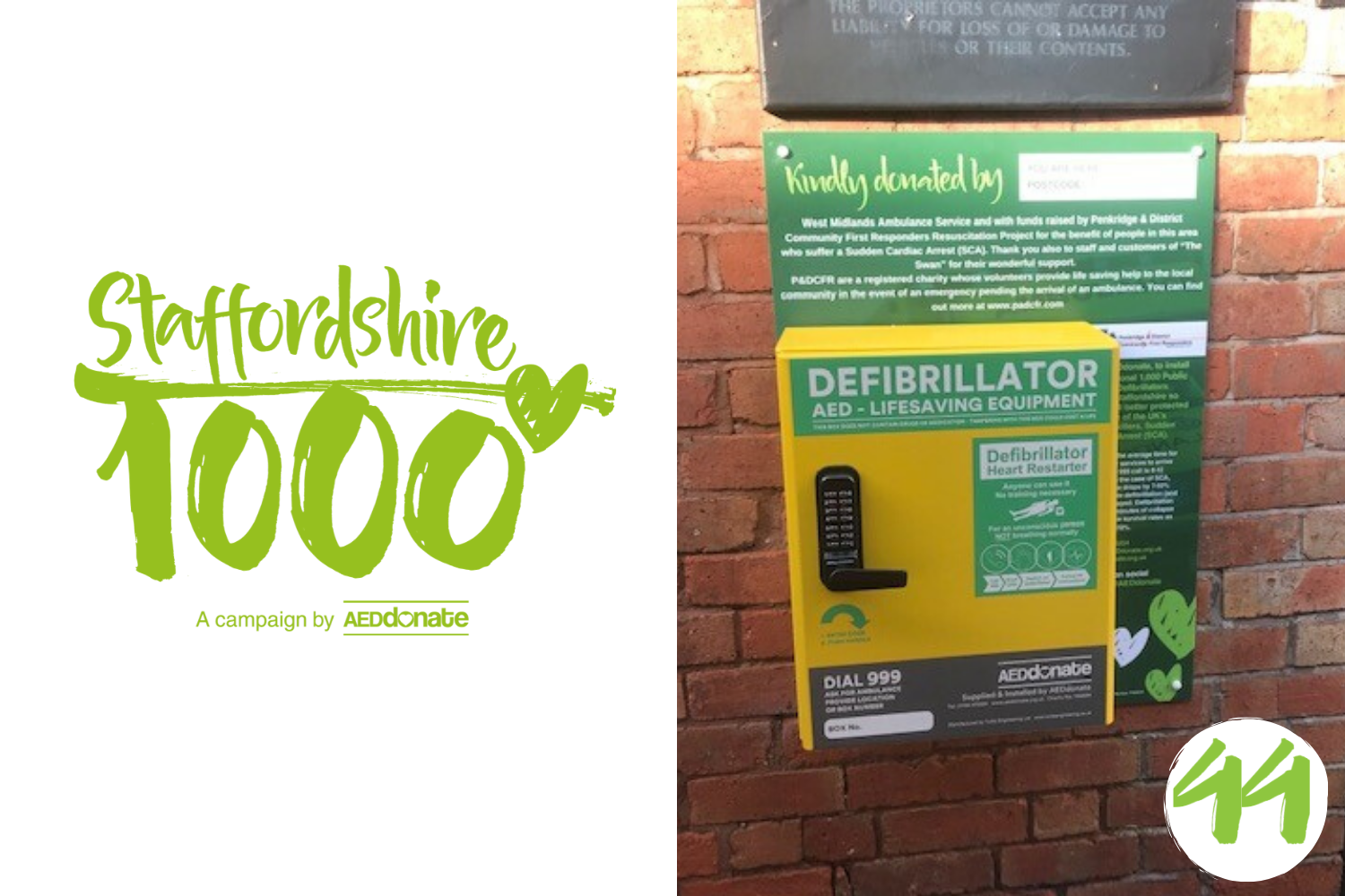 Defibrillator installed at The Swan, Whiston