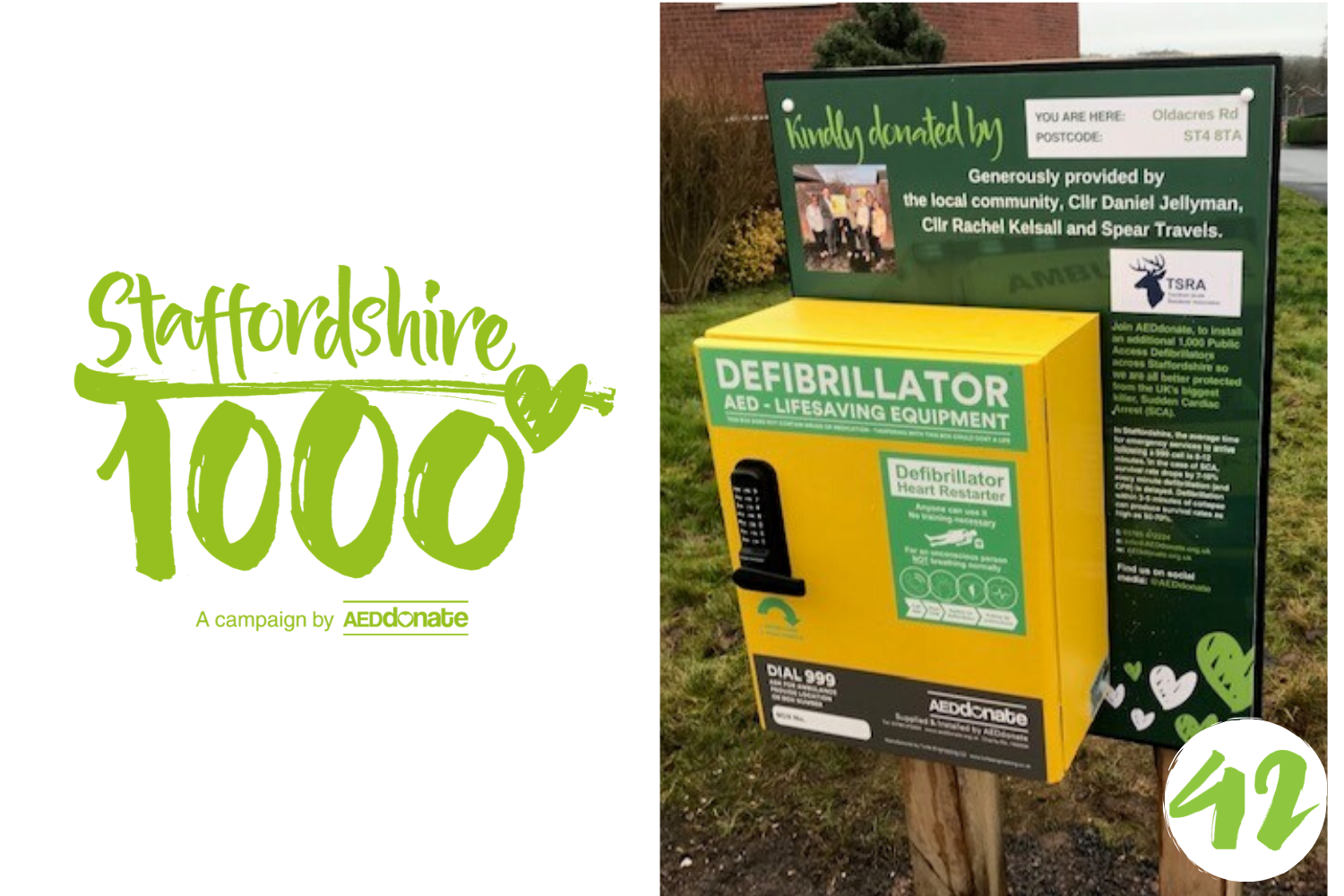 Defibrillator for Oldacres Road