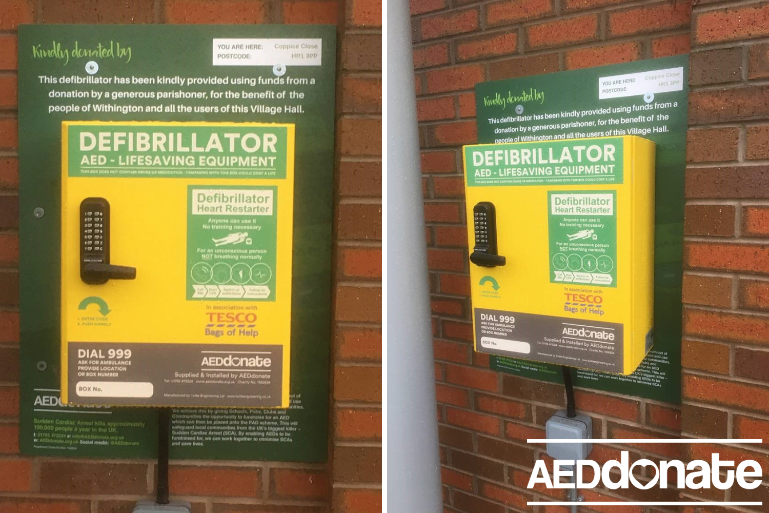 Defibrillator installed at Withington Village Hall