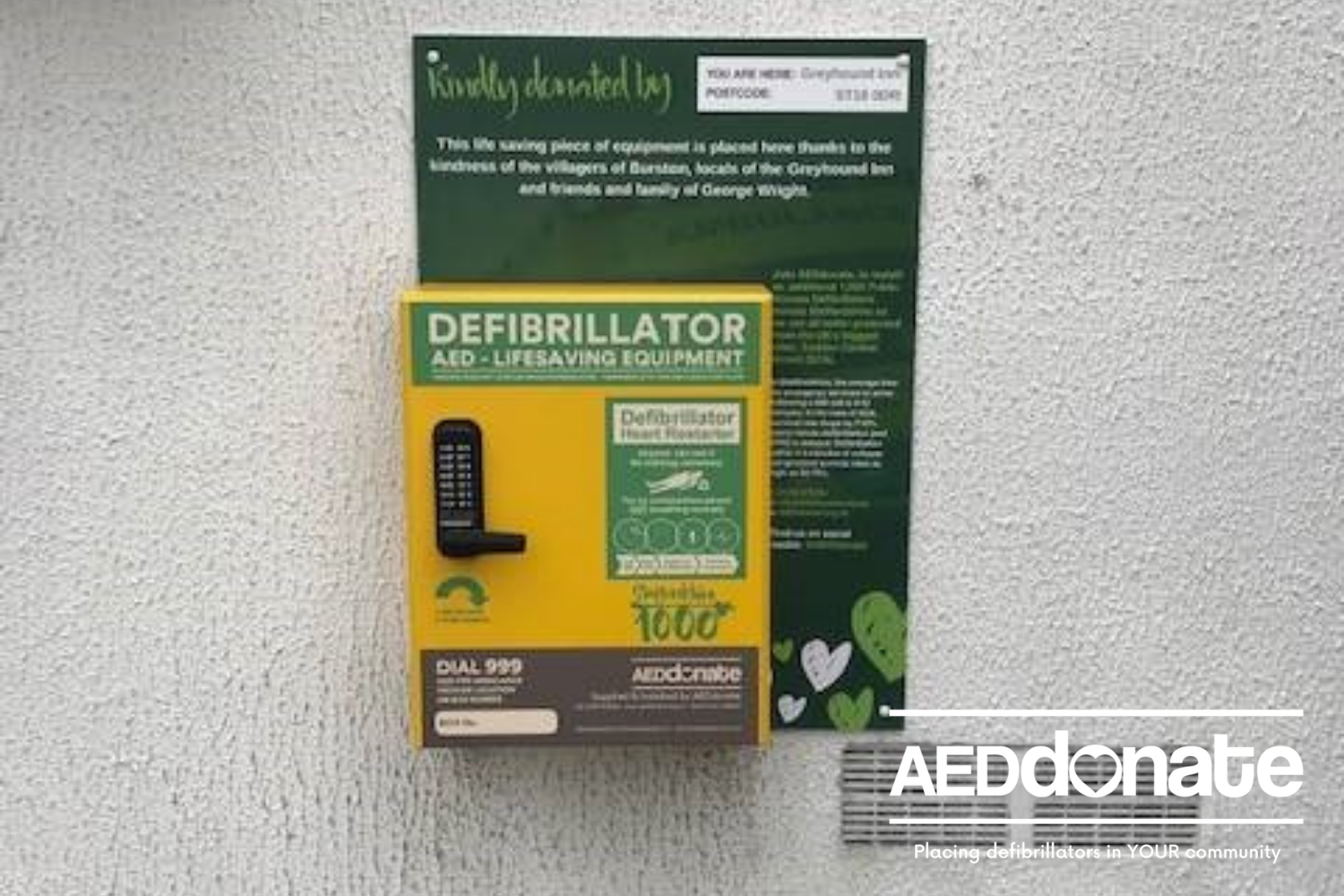 New AED for Burston Village, Staffordshire