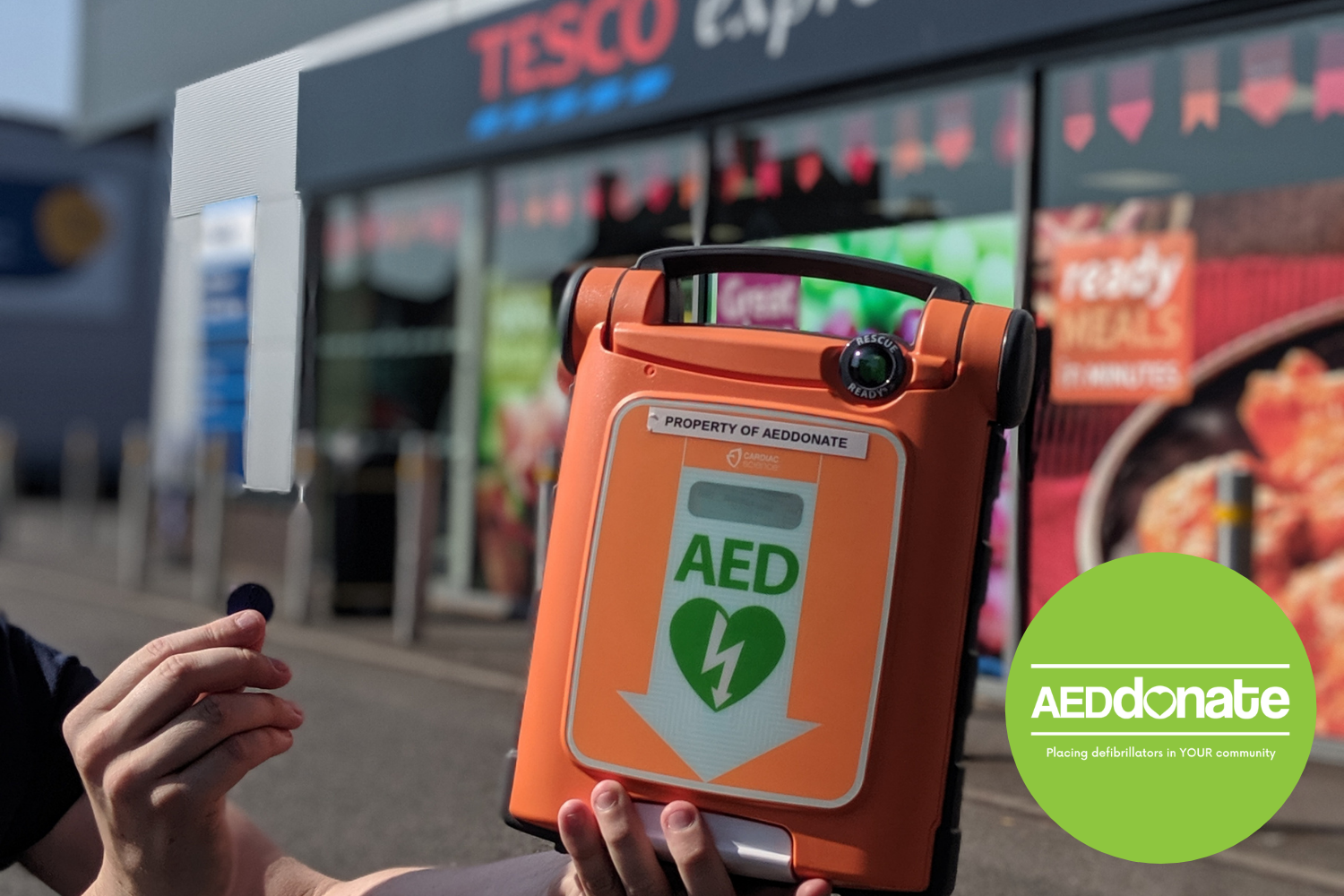 AED donated to Ossett United Football Club, West Yorkshire