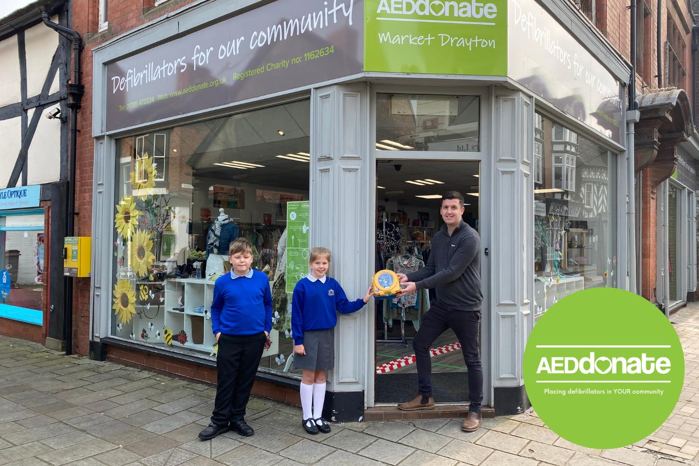 New Defibrillator for Longlands Primary School, Market Drayton