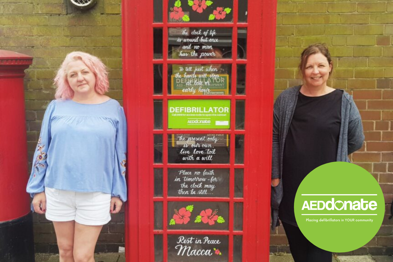 Defibrillator phone box gets memorial makeover for 'Macca'