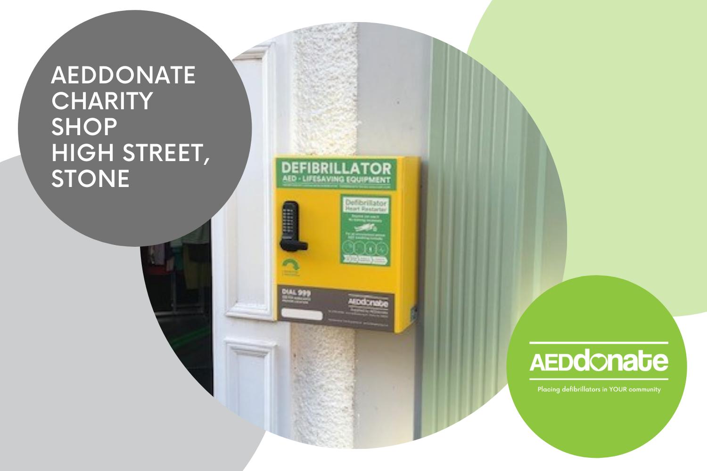 New Public Access Defibrillator Installed at AEDdonate Charity Shop, High Street, Stone