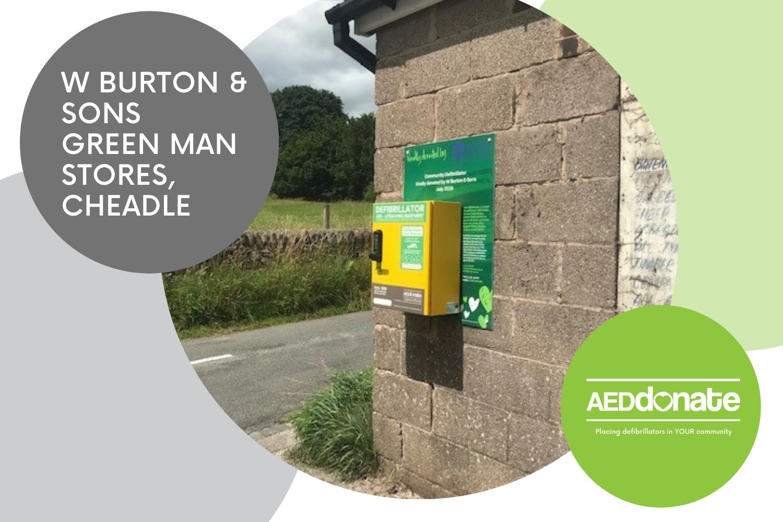 Public Access Defibrillator Cabinet installed at W Burton & Sons Green Man Stores, Cheadle