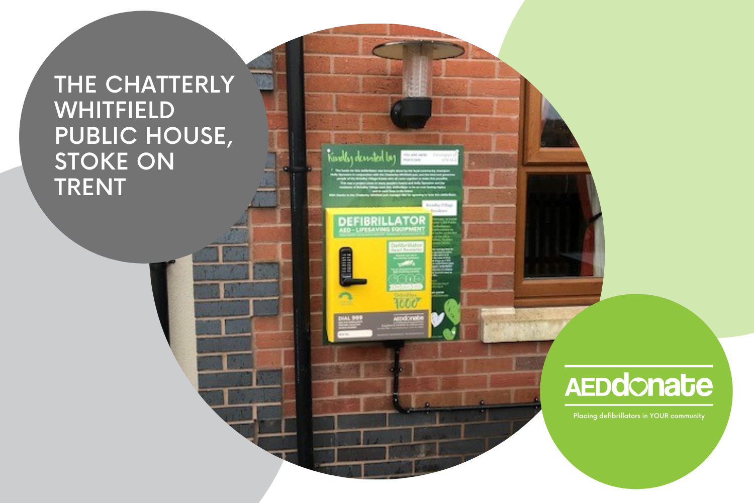 New Public Access Defibrillator Cabinet installed at The Chatterley Whitfield Public House, Stoke-on-Trent