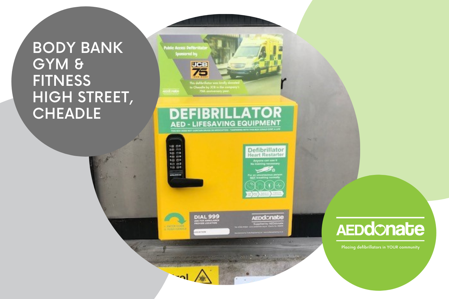 New Public Access Defibrillator Installed at Body Bank Gym & Fitness, Cheadle